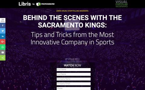 Screenshot of Landing Page photoshelter.com - BEHIND THE SCENES WITH THE SACRAMENTO KINGS: Tips and Tricks from the Most Innovative Team in Sports | Libris Visual Storytelling Webinars - captured March 13, 2019