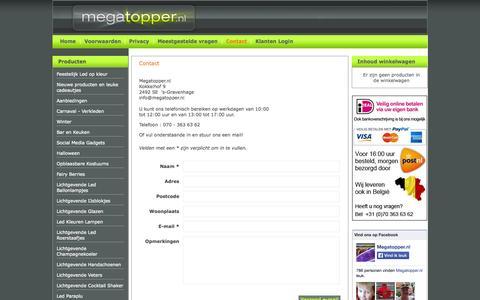 Screenshot of Contact Page securearea.eu - Contact met Megatopper.nl- Megatopper.nl - captured Sept. 18, 2014