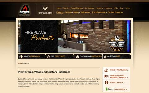 Screenshot of Products Page acucraft.com - Gas, Wood, Linear Gas and Outdoor Fireplace Products Custom Made - captured Oct. 3, 2018