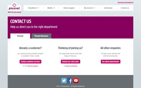 Screenshot of Contact Page plus.net - Contact   Plusnet - captured June 20, 2017