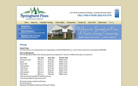 Screenshot of Pricing Page springhurstpines.org - Pricing | Springhurst Pines - captured Oct. 1, 2014