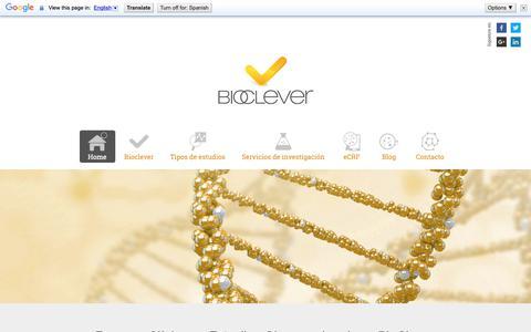 Screenshot of Home Page bioclever.com - CRO BioClever | Ensayos Clínicos en Barcelona y Madrid - captured Nov. 13, 2018