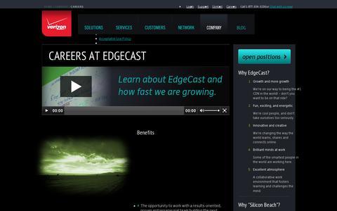 Screenshot of Jobs Page edgecast.com - Careers   EdgeCast - captured July 18, 2014
