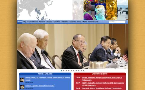 Screenshot of Home Page usasean.org - US-ASEAN Business Council | Advancing US Business Interest in Southeast Asia - captured Oct. 6, 2014