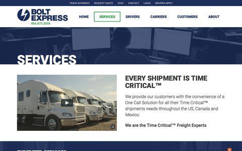 Screenshot of Services Page bolt-express.com - Expedited Services - Bolt Express - captured Aug. 14, 2018