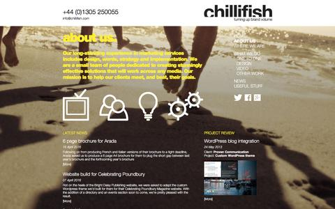 Screenshot of About Page chillifish.com - About Chillifish in Dorchester, Dorset | Chillifish - captured July 13, 2016