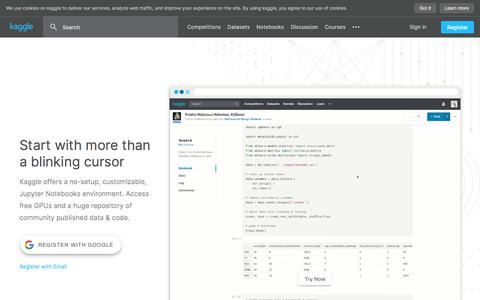 Screenshot of Home Page kaggle.com - Kaggle: Your Machine Learning and Data Science Community - captured Jan. 27, 2020