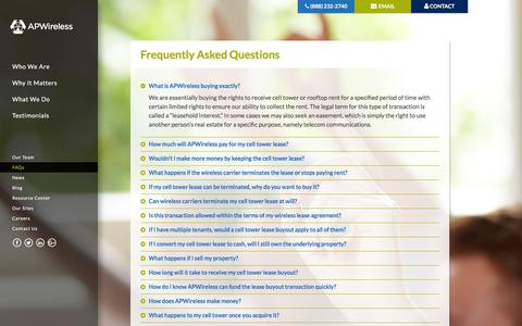 Screenshot of FAQ Page apwip.com - Frequently Asked Questions | APWireless - captured Feb. 5, 2016