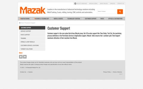 Screenshot of Support Page mazakindia.in - Customer Support - captured Oct. 29, 2014