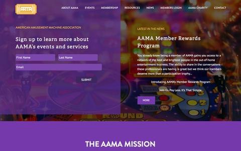 Screenshot of Home Page coin-op.org - AAMA – American Amusement Machine Association – American Amusement Macine Association - captured Oct. 8, 2017