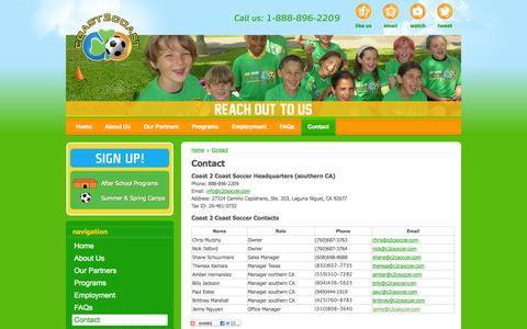 Screenshot of Contact Page c2csoccer.com - C2C soccer - Contact - captured Oct. 1, 2014
