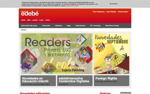Screenshot of Home Page edebe.com - Grupo Edebé: Libros, Educación, Literatura Infantil y Juvenil, Audiovisuales para niños y jóvenes - captured Sept. 25, 2014