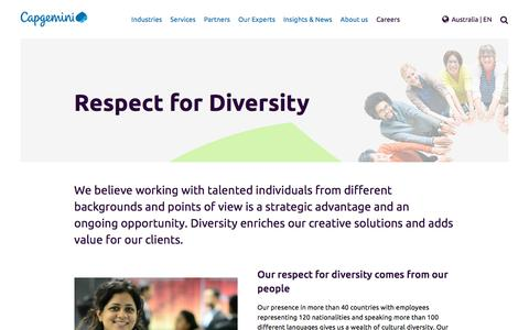 Screenshot of Jobs Page capgemini.com - Respect for Diversity - captured Jan. 20, 2018