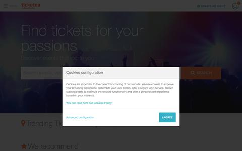 Screenshot of Home Page ticketea.com - Tickets: concerts, festivals and events - Buy with Ticketea    ticketea - captured July 13, 2018
