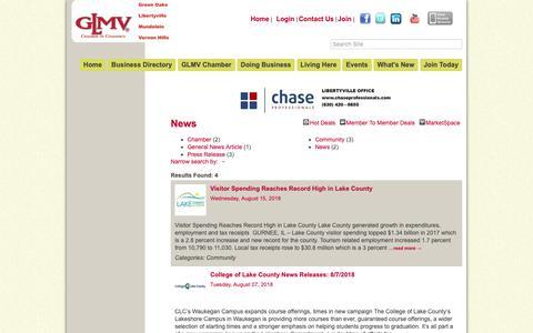 Screenshot of Press Page glmvchamber.org - News - GLMV Chamber of Commerce, IL - captured Dec. 13, 2018