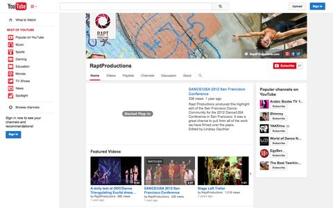 Screenshot of YouTube Page youtube.com - RaptProductions  - YouTube - captured Oct. 27, 2014