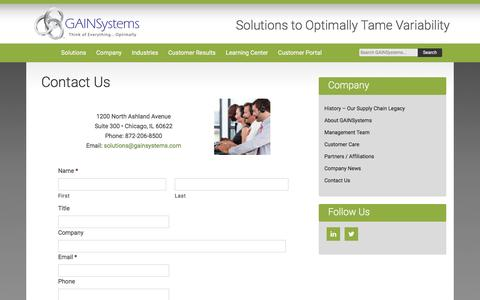 Contact Us   Supply Chain Management Company   GAINSystems Inc.