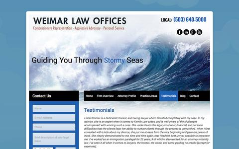 Screenshot of Testimonials Page weimarlaw.com - Testimonials about Attorney Linda Weimar and Weimar Law - captured Oct. 9, 2014