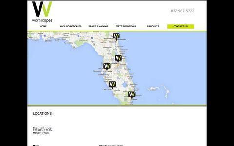 Screenshot of Locations Page workscapes.com - Custom Office Furniture, Office Furniture Solutions Orlando, Miami, and Ft Lauderdale Florida - captured Oct. 9, 2014
