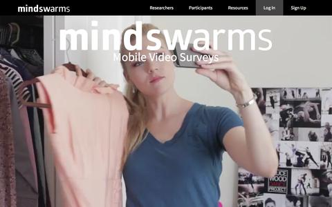 Screenshot of Home Page mindswarms.com - Mindswarms | Mobile Video Ethnography, Qualitative Research - captured June 16, 2017
