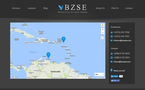 Screenshot of Maps & Directions Page bzselaw.com - Map | BZSE Attorneys at Law | Tax Lawyers | St. Maarten, Curacao - captured Oct. 9, 2017