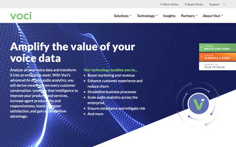 Screenshot of Home Page vocitec.com - Amplify the value of your voice data with Speech Technology - Voci - captured Feb. 9, 2019
