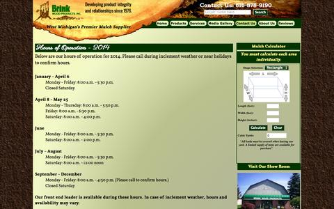 Screenshot of Hours Page brinkwoodproducts.net - Brink Wood Products Hours of Operation - captured Oct. 6, 2014