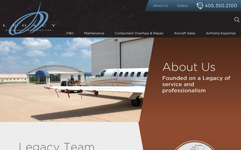Screenshot of About Page legacy-aviation.com - About Us - Legacy Aviation Services - captured Sept. 27, 2018