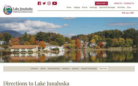 Screenshot of Maps & Directions Page lakejunaluska.com - Directions to Lake Junaluska Conference & Retreat Center, North Carolina - captured July 15, 2018