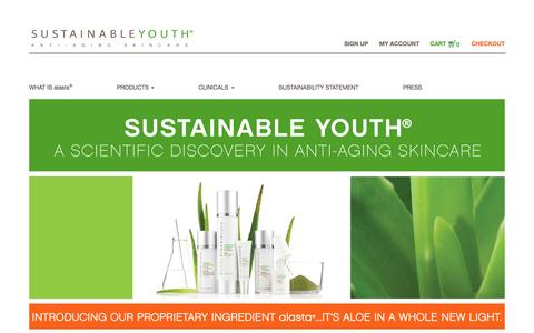 Screenshot of Home Page sustainableyouth.com - Sustainable Youth | anti-aging skincare - captured Aug. 4, 2015