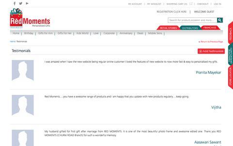 Screenshot of Testimonials Page redmoments.in - Testimonials - captured Oct. 29, 2017