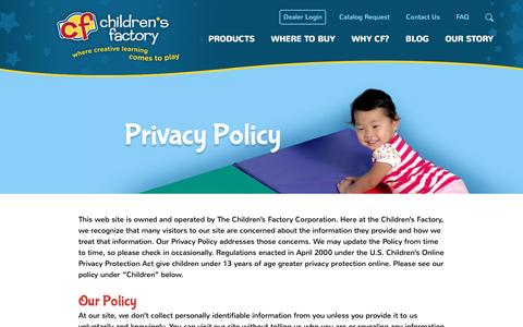 Screenshot of Privacy Page childrensfactory.com - Privacy Policy - Children's Factory - captured Sept. 3, 2016