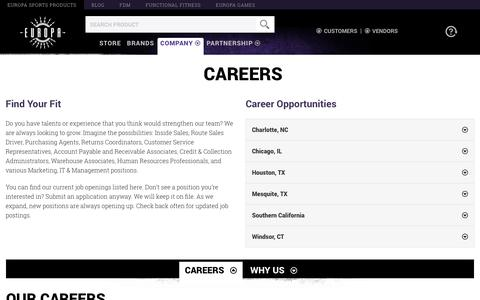 Screenshot of Jobs Page europasports.com - Europa Sports Products - captured July 21, 2019