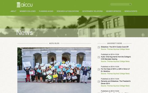 Screenshot of Press Page aiccu.edu - News - AICCUAICCU - captured Oct. 4, 2014