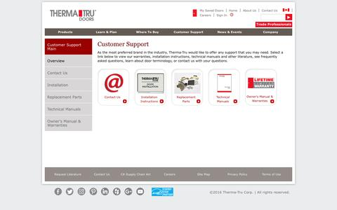 Screenshot of Support Page thermatru.com - Customer Support | Therma-Tru - captured Oct. 22, 2016