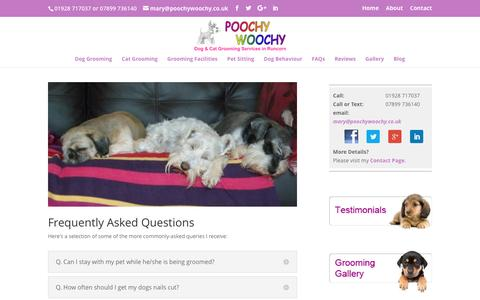 Screenshot of FAQ Page poochywoochy.co.uk - FAQs dog and cat grooming   pet care frequently asked questions   Runcorn - captured July 14, 2016
