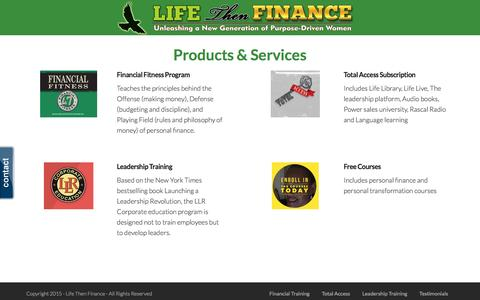 Screenshot of Products Page lifethenfinance.com - product | Life Then Finance - captured July 14, 2016