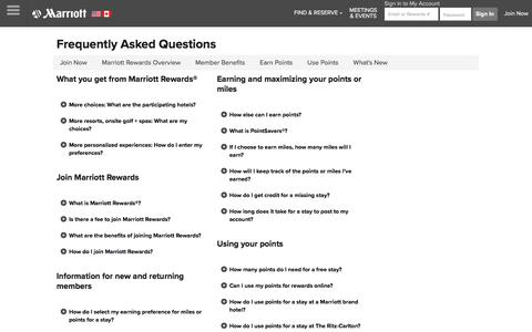 Screenshot of FAQ Page marriott.com - All your Marriott Rewards questions are answered in this FAQ - captured July 7, 2018
