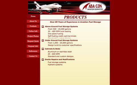 Screenshot of Products Page aba-con.com - Products - captured July 23, 2016