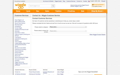 Screenshot of Contact Page wiggle.co.uk - Wiggle Customer Services - captured Sept. 18, 2014