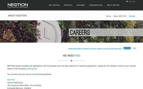 Screenshot of Jobs Page neotion.com - NEOTION.COM - CAREERS - captured Sept. 21, 2018