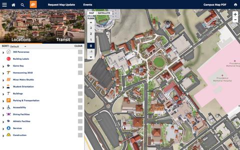 Screenshot of Maps & Directions Page utep.edu - Campus Map - captured Sept. 22, 2018