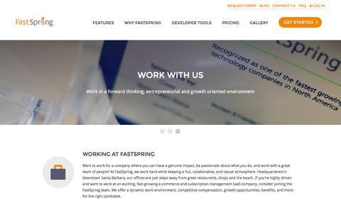 Screenshot of Jobs Page fastspring.com - FastSpring - Global E-Commerce Platform for Software and SaaS - captured March 29, 2016