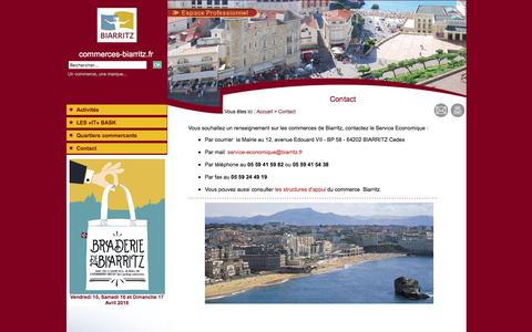 Screenshot of Contact Page commerces-biarritz.fr - Contact - Commerces de Biarritz - Pays Basque - captured March 7, 2016