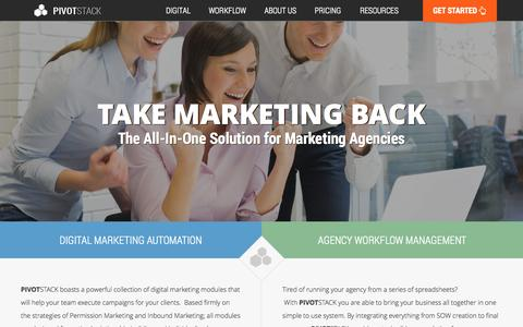 Screenshot of Home Page pivotstack.com - PIVOTSTACK | Creative Agency Marketing Productivity Suite - captured Sept. 25, 2014