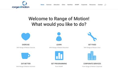 Screenshot of Home Page rangeofmotion.net.au - Home | Range Of Motion - captured Oct. 20, 2018