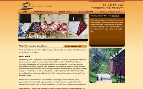 Screenshot of Terms Page amishpassport.com - Enjoy savings on lodging, dining, bed and breakfasts, shopping and furniture. - Amish Country Travel - captured Oct. 4, 2014