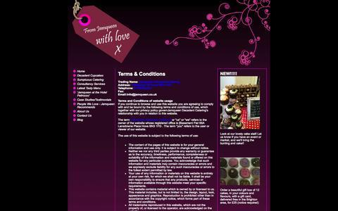 Screenshot of Terms Page jamqueen.co.uk - Jamqueen Decadent Cupcakes and Catering - captured Oct. 4, 2014