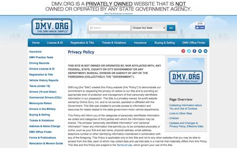 Screenshot of Privacy Page dmv.org - Company Privacy Policy at DMV.org: The DMV Made Simple - captured Aug. 19, 2016