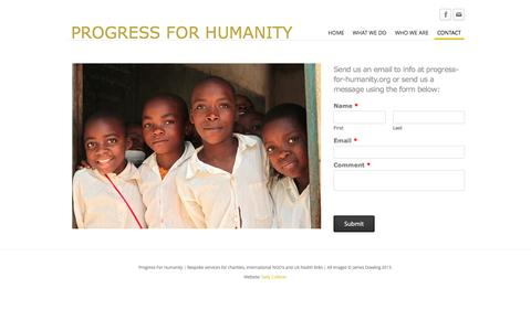 Screenshot of Contact Page progress-for-humanity.org - Progress for Humanity | Contact - PROGRESS FOR HUMANITY - captured Sept. 30, 2014